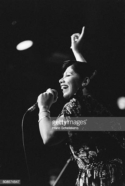 Algerian Singer Cheba Zaouhania, vocal, performs at the Melkweg on 17th January 1992 in Amsterdam, Netherlands.