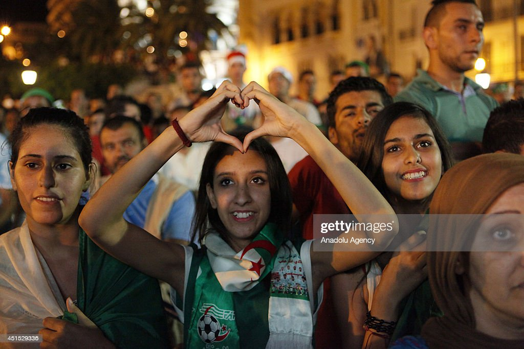 Algerian soccer fans watch their national team match against Germany within the 2014 FIFA World Cup Brazil Round of 16 game, on the giant screens, in the capital Algiers,June 30,2014.
