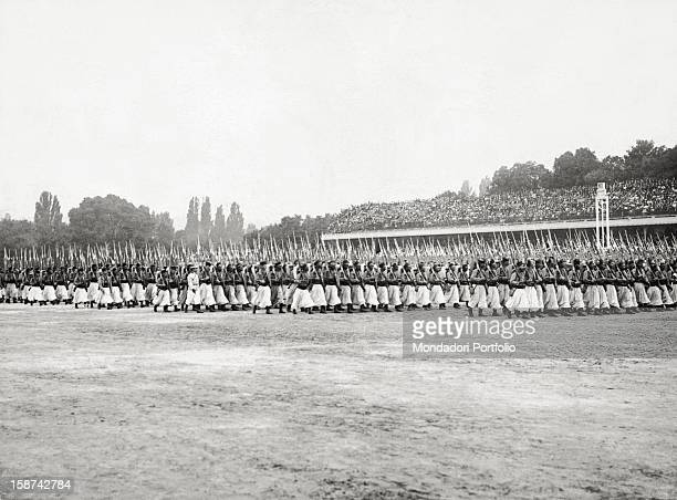 Algerian soldiers of the French colonial troops marching in a military parade during World War I 1910s