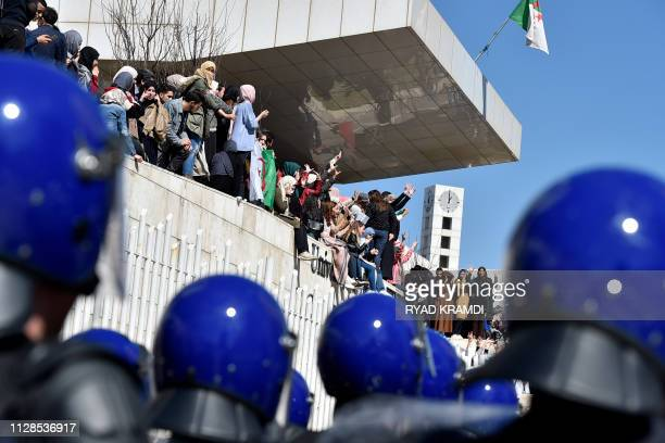 TOPSHOT Algerian students demonstrate at Algiers' school of medicine on March 3 2019 against ailing President Abdelaziz Bouteflika's bid for a fifth...