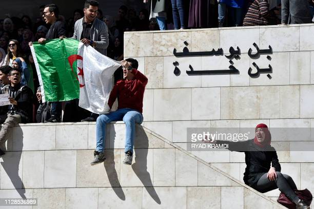 Algerian students demonstrate at Algiers' school of medicine on March 3 2019 against ailing President Abdelaziz Bouteflika's bid for a fifth term...
