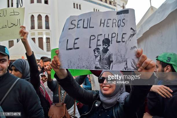 TOPSHOT Algerian students demonstrate in the capital Algiers on March 5 2019 against ailing President Abdelaziz Bouteflika's bid for a fifth term...