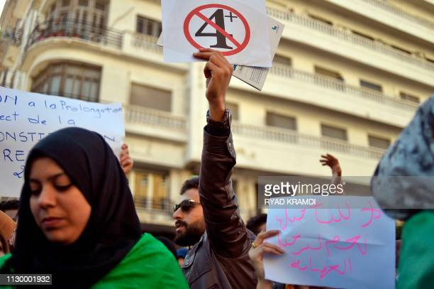 Algerian students demonstrate in the centre of the capital Algiers on March 12 one day after President Abdelaziz Bouteflika announced his withdrawal...