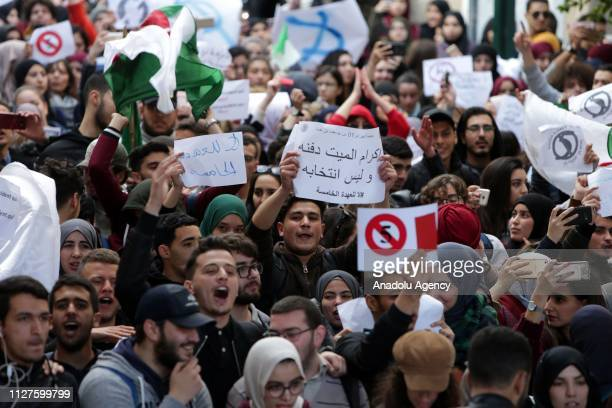 Algerian students gather to protest against the fifth term of Abdelaziz Bouteflika at the University of Algiers in Algiers Algeria on February 26...