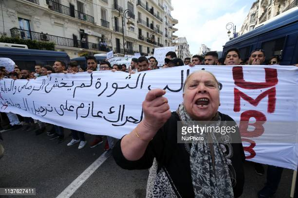 Algerian students take part in a demonstration for the departure of the Algerian regime Algiers Algeria 16 April 2019 Algerian army chief Gaid Salah...