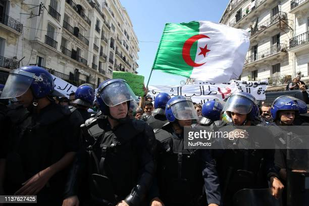 Algerian students take part in a demonstration for the departure of the Algerian regime, Algiers, Algeria, 16 April 2019. Algerian army chief Gaid...