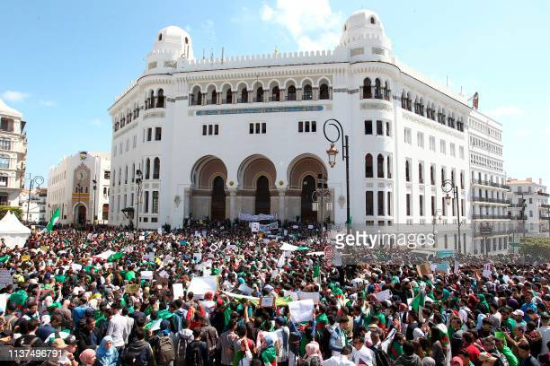 Algerian students take part in a demonstration on April 16 in the capital Algiers Thousands of Algerian students chanting peaceful rallied Tuesday in...