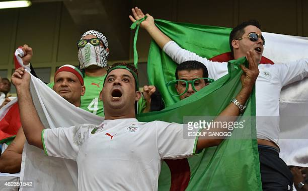 Algerian supporters cheer their team ahead of the 2015 African Cup of Nations group C football match between Senegal and Algeria on January 27 2015...