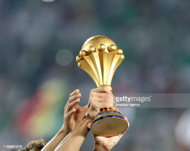 Algerian team celebrate championship with trophy after the 2019 Africa Cup of Nations final match between Senegal and Algeria at the Cairo Stadium in...