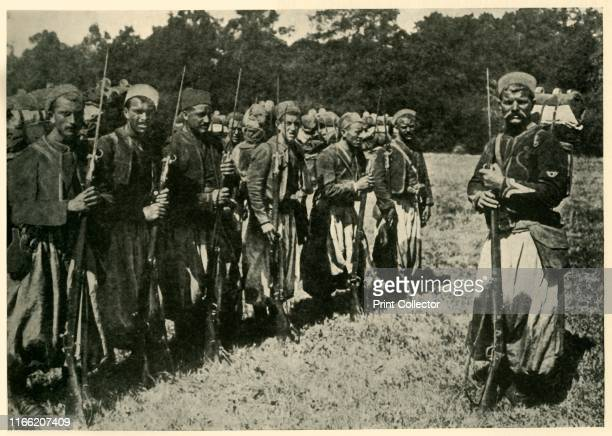 Algerian tirailleurs known as 'Turcos', First World War . 'French Colonial Reinforcements: Turcos lining up with their long bayonets fixed for...