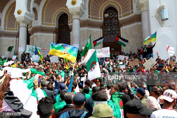 TOPSHOT Algerians gather during an anti government demonstration in the capital Algiers on April 26 2019