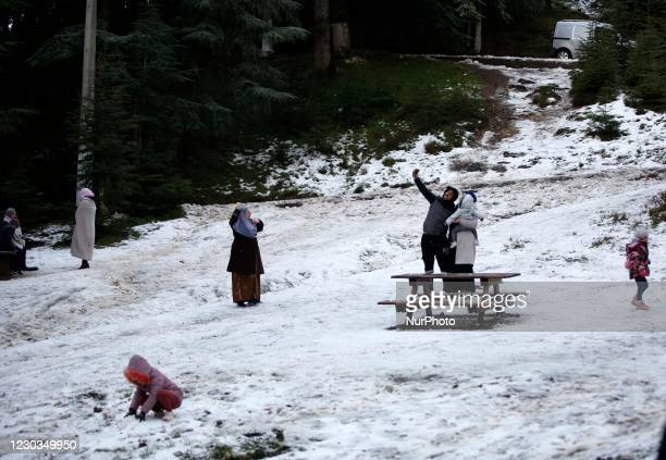 Algerians having fun in the snow in Chréa National Park in the wilaya of Blida, 55 km west of Algiers on December 29, 2020