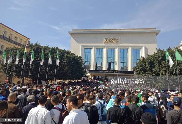 Algerians participate in a protest rally against their ailing president's bid for a fifth term in power in the northeastern city of Annaba on March 5...
