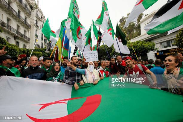 Algerians protest at a demonstration for the departure of the Algerian regime in Algiers Algeria on May 3 2019 The protests in Algeria that began in...