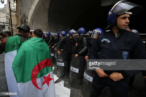 Algerians protest during a demonstration for the departure of the Algerian regime in Algiers, Algeria, 19 April 2019. The Algerian protests that...