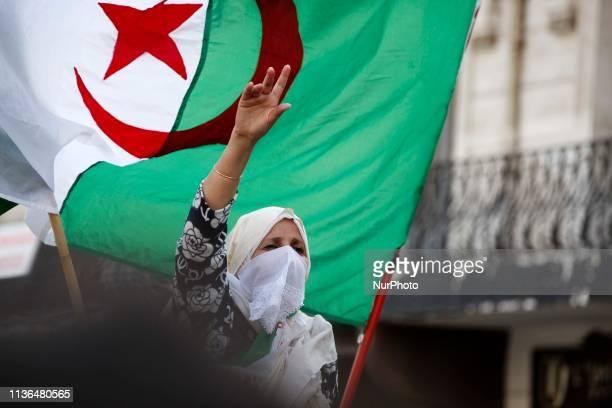 Algerians shout slogans during a protest against interim President Abdelkader Bensalah, in Algiers, Algeria, 12 April 2019. Media reports state that...