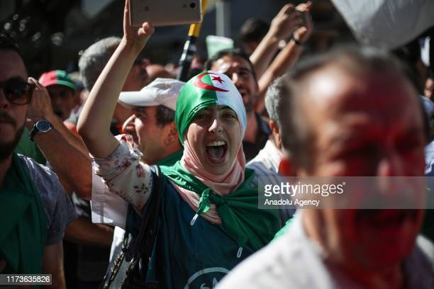 Algerians stage a demonstration demanding regime officials who continue to work after former President Abdelaziz Bouteflika resigned to step down in...