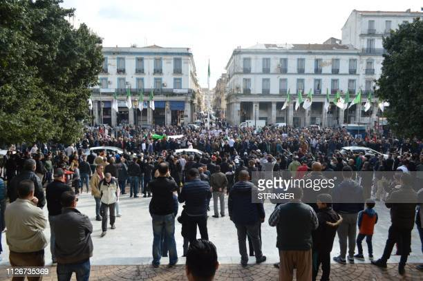 Algerians stage a protest against Algeria's president candidacy for a fifth term on February 22 2019 in the coastal city of Annaba Abdelaziz...