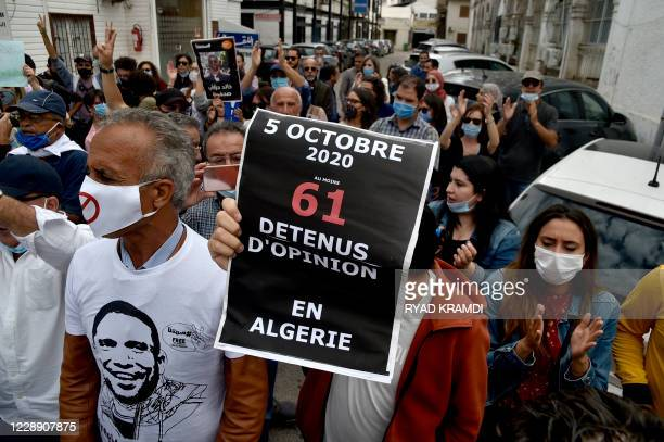 Algerians take part in a weekly rally to call for the release of jailed journalist Khaled Drareni in the capital Algiers, on October 5, 2020.
