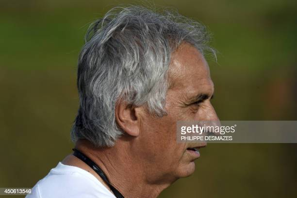 Algeria's Bosnian coach Vahid Halilhodzic attends a training session at the Atletico World Sports Center in Sorocaba Brazil on June 14 during the...