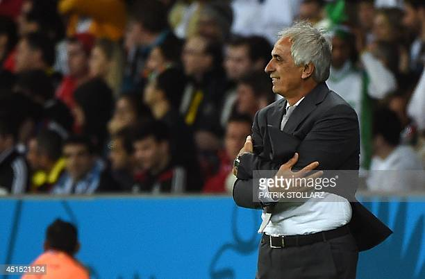 Algeria's Bosnian coach Vahid Halilhodzic reacts during a Round of 16 football match between Germany and Algeria at BeiraRio Stadium in Porto Alegre...