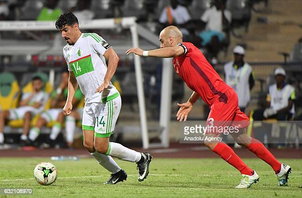 Algeria's Bounedjah in action during the African Cup of Nations Group B soccer match between Algeria and Tunisia at the Stade de Franceville on...