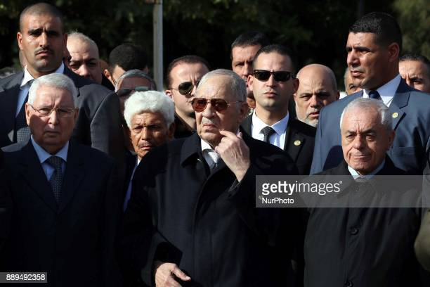 Algeria's Chief of Staff General Ahmed Gaid Salah attends the General's Burial at Retirement Atailia at El Alia Cemetery in Algiers Algeria on 10...