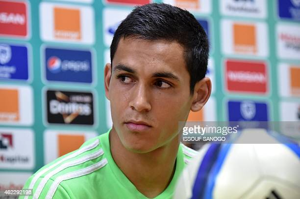Algeria's defender Aissa Mandi holds a press conference in Malabo on January 26 2015 on the eve of the 2015 African Cup of Nations football match...