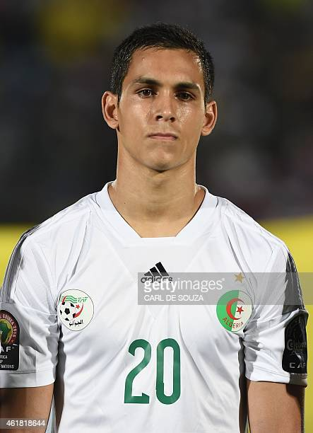 Algeria's defender Aissa Mandi poses ahead of the 2015 African Cup of Nations group C football match between Algeria and South Africa in Mongomo on...