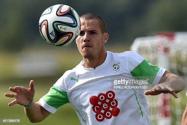 Algeria's defender Djamel Mesbah takes part a training session on June 28 2014 in Sorocaba during the 2014 FIFA World Cup football tournament AFP...