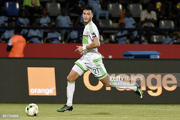 Algeria's defender Rami Bensebaini controls the ball during the 2017 Africa Cup of Nations group B football match between Algeria and Zimbabwe in...