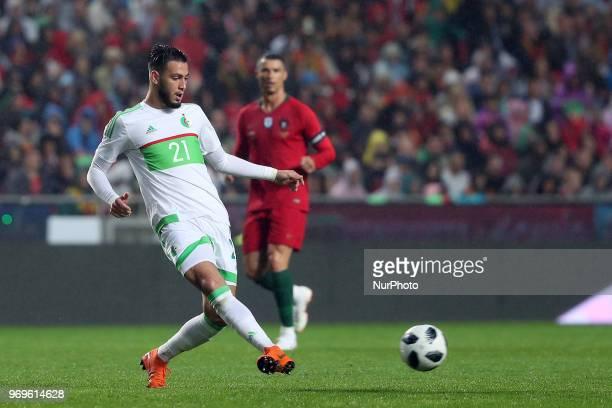 Algerias defender Rami Bensebaini in action during the FIFA World Cup Russia 2018 preparation football match Portugal vs Algeria at the Luz stadium...