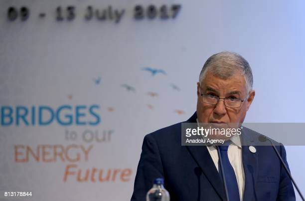 Algeria's Energy Minister Mustapha Guitouni delivers a speech during the 22nd World Petroleum Congress in Istanbul Turkey on July 11 2017
