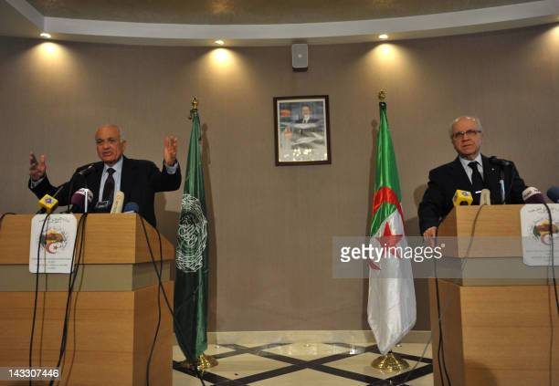 Algeria's Foreign Minister Mourad Medelci and Arab League Secretary General Nabil alArabi give a joint press conference about the kidnapping of...