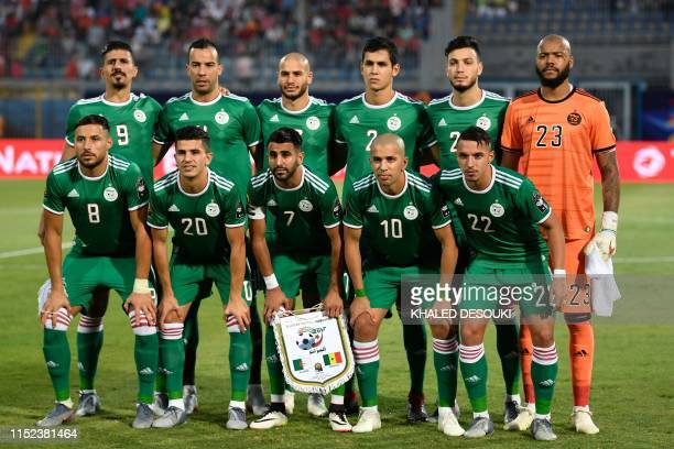 Algeria's forward Baghdad Bounedjah Algeria's defender Djamel Benlamri Algeria's midfielder Adlene Guedioura Algeria's defender Aissa Mandi Algeria's...