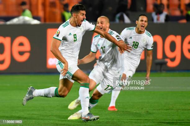 Algeria's forward Baghdad Bounedjah celebrates his goal during the 2019 Africa Cup of Nations Final football match between Senegal and Algeria at the...