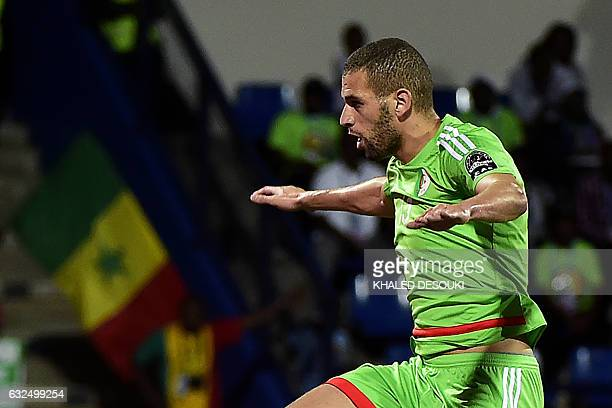 Algeria's forward Islam Slimani celebrates a goal during the 2017 Africa Cup of Nations group B football match between Senegal and Algeria in...