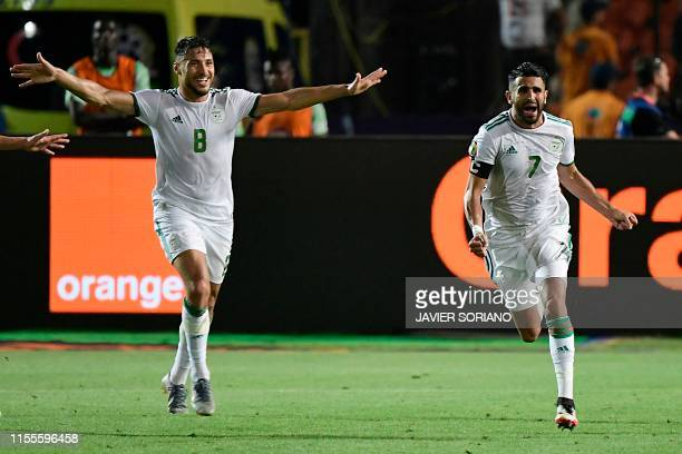 Algeria's forward Riyad Mahrez celebrates his goal during the 2019 Africa Cup of Nations Semi-final football match between Algeria and Nigeria at the...