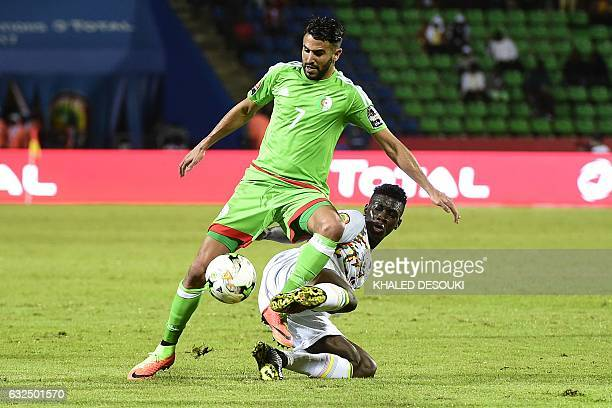 Algeria's forward Riyad Mahrez challenges Senegal's midfielder Ismaila Sarr during the 2017 Africa Cup of Nations group B football match between...