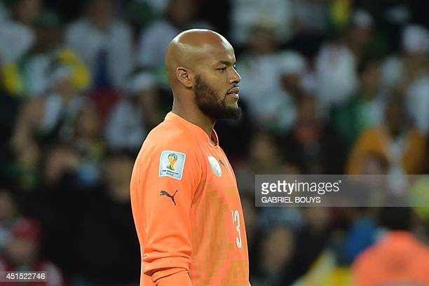 Algeria's goalkeeper Rais Mbohli reacts during the first half of extratime in the Round of 16 football match between Germany and Algeria at BeiraRio...