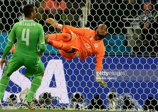 Algeria's goalkeeper Rais Mbolhi in action during the 2014 FIFA World Cup Brazil Round of 16 match between Germany and Algeria at Estadio BeiraRio on...