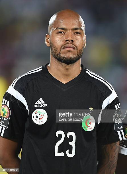 Algeria's goalkeeper Rais Mbolhi poses ahead of the 2015 African Cup of Nations group C football match between Algeria and South Africa in Mongomo on...