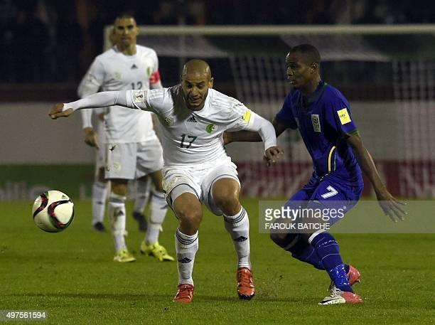 Algeria's midfielder Adlène Guedioura vies with Tanzania's Tanzania's Himid Mao Mkami during the FIFA World Cup 2018 qualifying football match...