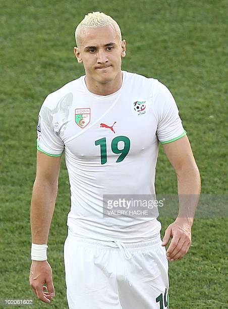 Algeria's midfielder Hassan Yebda reacts after their Group C first round 2010 World Cup football match on June 13 2010 at Peter Mokaba stadium in...