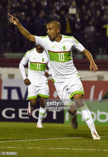 Algeria's midfielder Sofiane Feghouli reacts during the 2017 African Cup of Nations football match between Algeria and Ethiopia at the Mustapha...