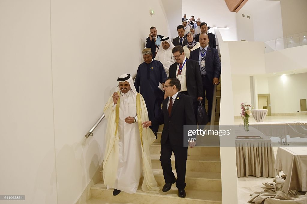 Algeria's Minister of Energy, Noureddine Boutarfa (bottom-R), the President of the Organization of Petroleum Exporting Countries (OPEC) and Qatar's Energy Minister, Mohammed bin Saleh al-Sada (center-L) and OPEC Secretary General Nigeria's Mohammed Barkindo (2ndR) arrive for a press conference following an informal meeting between OPEC members on September 28, 2016 in the Algerian capital Algiers. / AFP / Ryad Kramdi