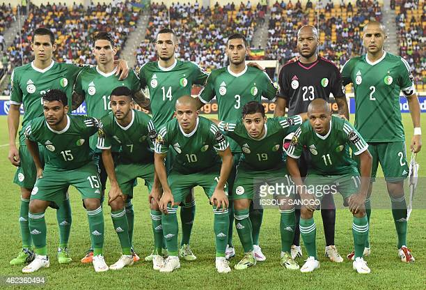 Algeria's players line up prior to the 2015 African Cup of Nations group C football match between Senegal and Algeria on January 27 2015 in Malabo...