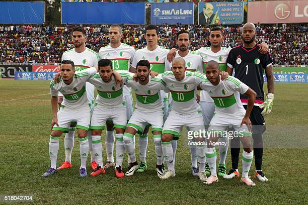 Algeria's players pose during the 2017 African Cup of Nations football match between Ethiopia and Algeria Ethiopia in Addis Ababa Ethiopia on March...