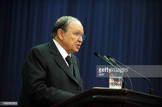Algeria's President Abdelaziz Bouteflika delivers a speech on the occasion of the 41st anniversary of the nationalization of the hydrocarbons and the...