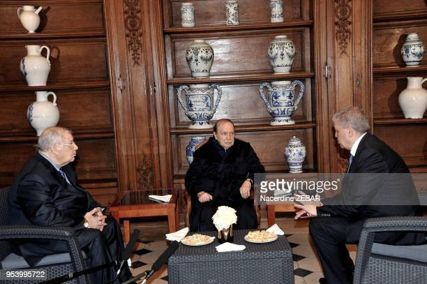 Algeria's President Abdelaziz Bouteflika receiving Algerian Chief of Staff Ahmed Gaid Salah and Algeria's Prime Minister Abdelmalek Sellal in the...